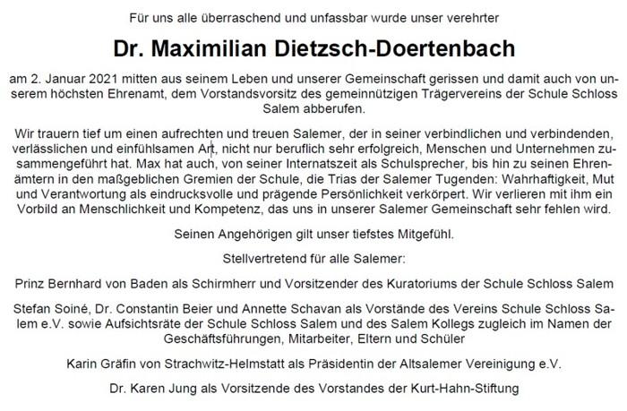 Traueranzeige Dr. Dietzsch-Doertenbach